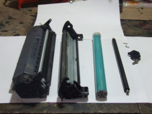 Disassembled Toner Cartridge