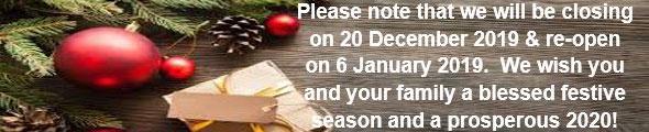 Holiday Closing Dates December 2019
