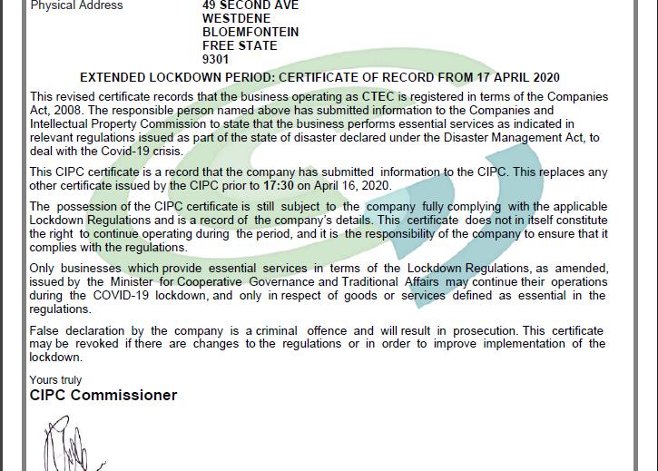 lockdown certificate
